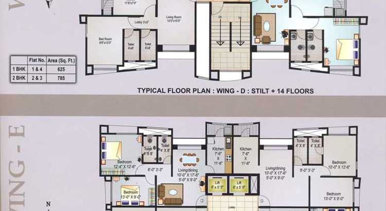 Sai Radha Complex Floor Plan D and E wing
