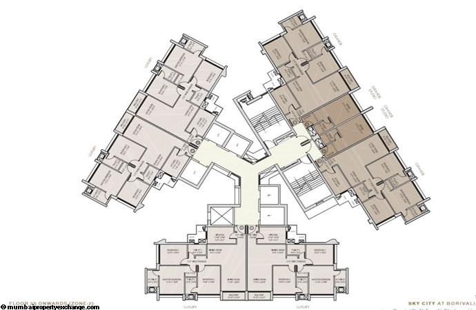Oberoi Sky City Oberoi Sky City Typical Floor Plan Tower B (35th flr onwards)