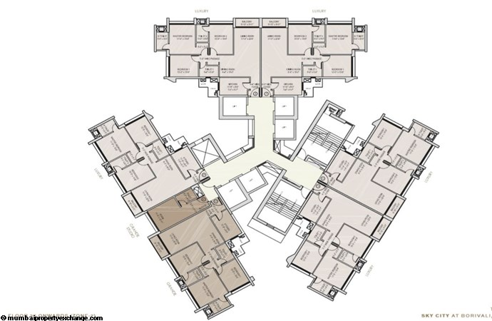 Oberoi Sky City Oberoi Sky City Typical Floor Plan Tower C (35th flr onwards)