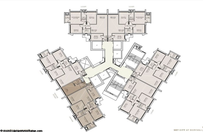 Oberoi Sky City Oberoi Sky City Typical Floor Plan Tower C (upto 34th flr)