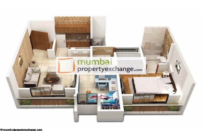 Dosti Codename Landmark 2bhk Optima 3D View