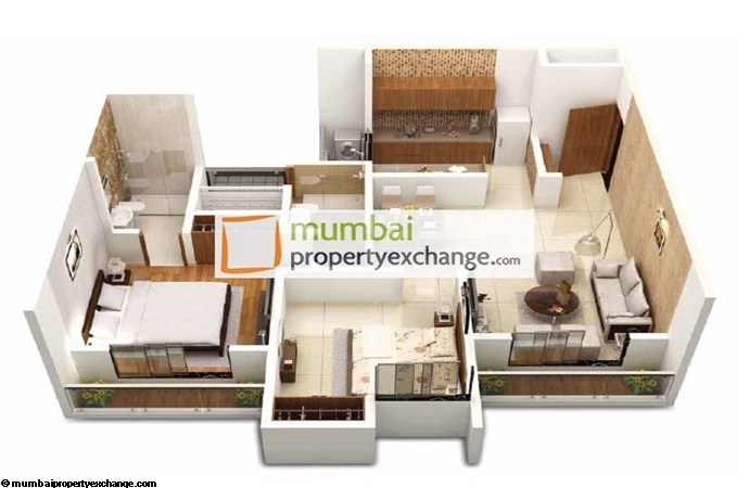 Dosti Codename Landmark 2bhk Ultima 3D View