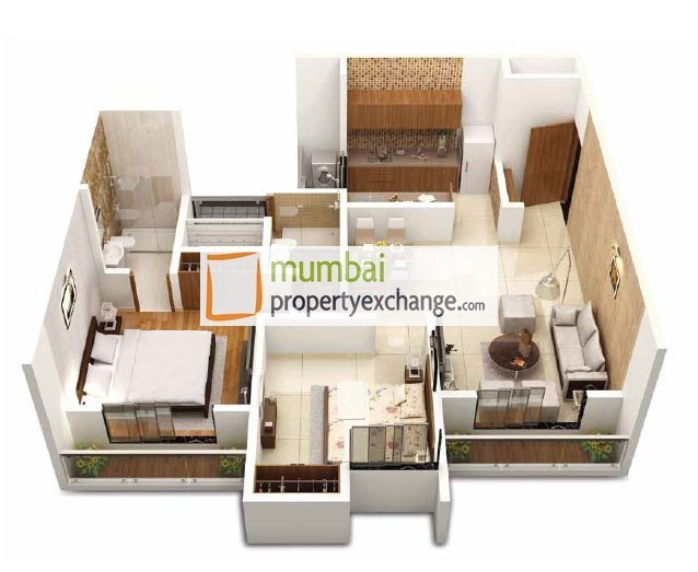 2bhk Ultima 3D View