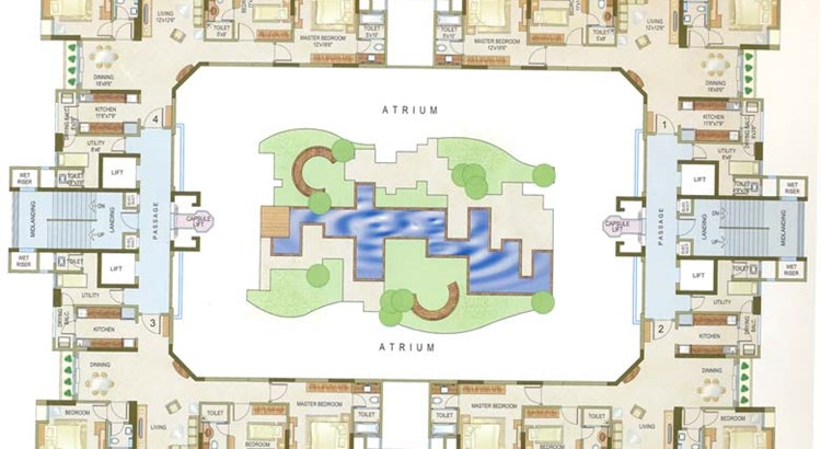 Casa Grande Typical Floor Plan- 3BHK