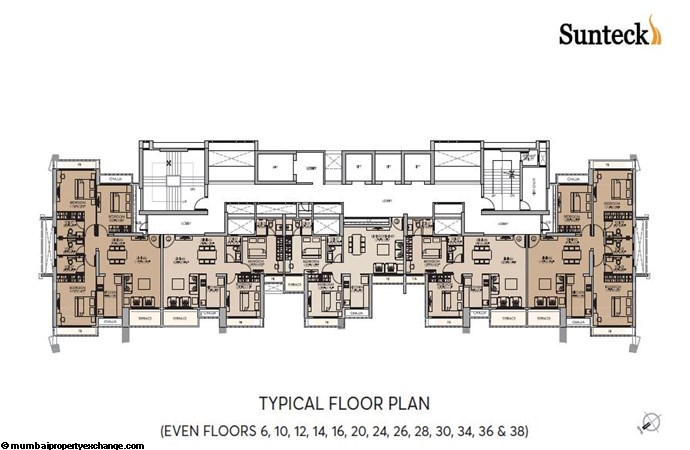 Signia Waterfront Sunteck Waterfront Typical Floor Plan-Even