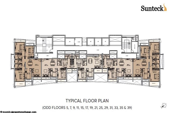 Signia Waterfront Sunteck Waterfront Typical Floor Plan-Odd