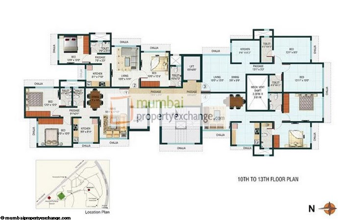Romell Trimurti 10th to 13th Floor plan