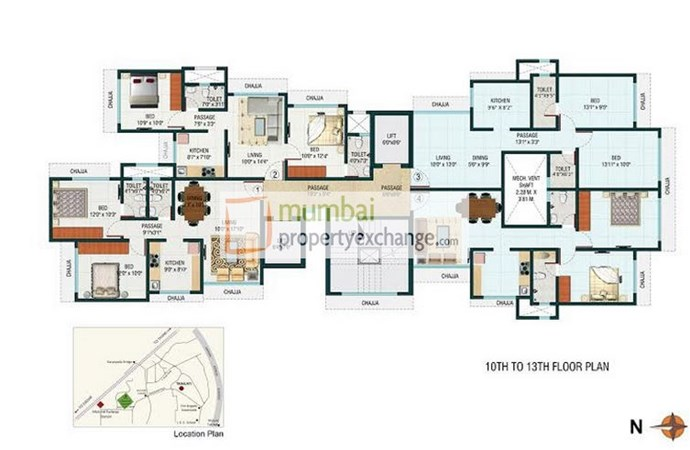 10th to 13th Floor plan