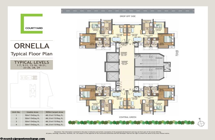 Wadhwa Courtyard  Wadhwa Courtyard Cornella Typical Floor Plan