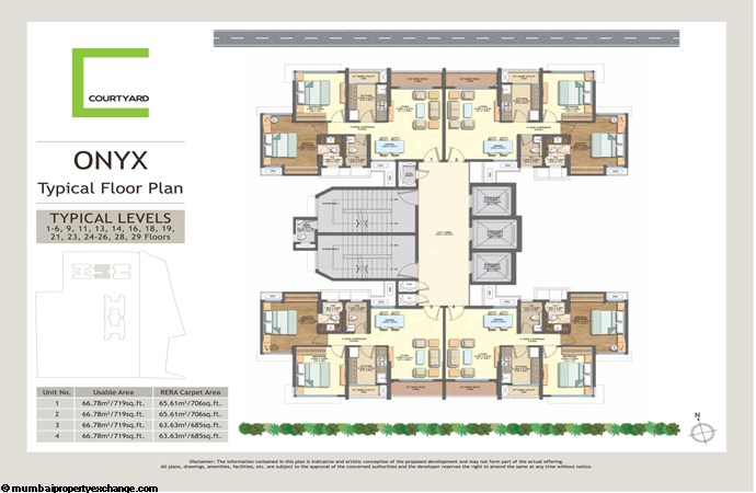 Wadhwa Courtyard   Wadhwa Courtyard Onyx Typical Floor Plan