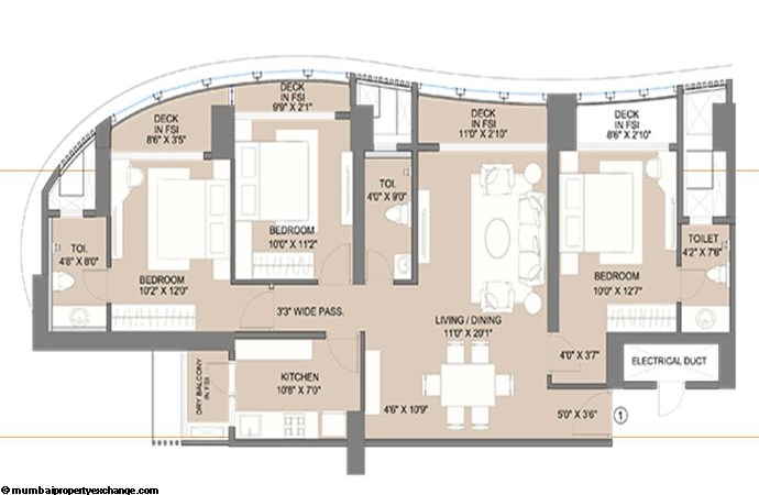 Sunteck City Avenue 1 Avenue 1 2BHK  (01) Typical Floor Plan