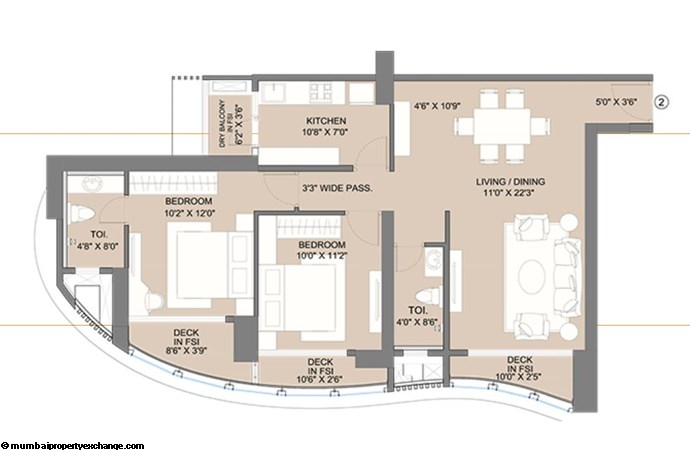 Sunteck City Avenue 1 Avenue 1 2BHK  (02) Typical Floor Plan