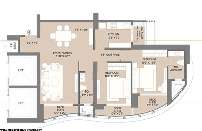 Sunteck City Avenue 1 Avenue 1 2BHK  (04) Typical Floor Plan