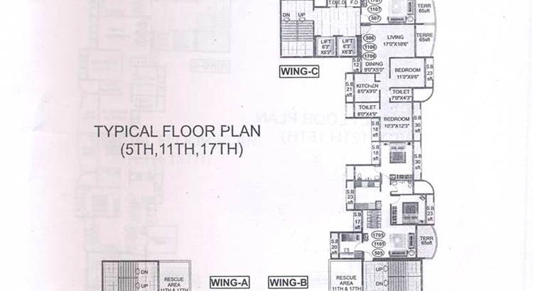 Bhoomi Heights 5th 11th and 17th Floor Plan