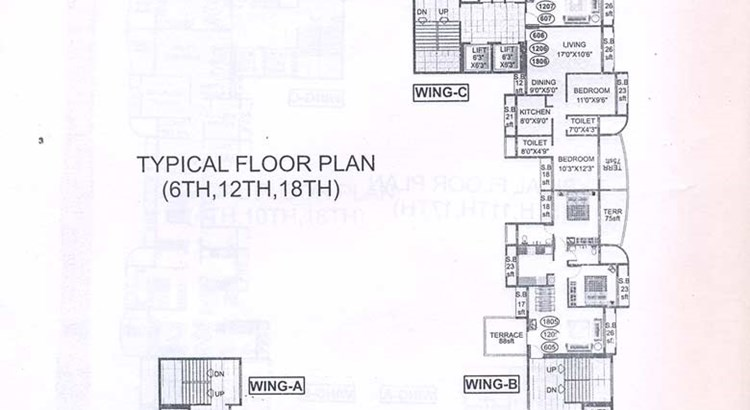 Bhoomi Heights 6th 12th and 18th Floor Plan