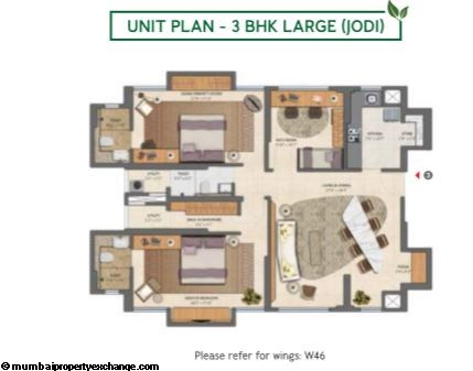 Lodha Amara Lodha Amara 2BHK Ultima with deck Type B Unit Plan