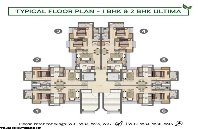 Lodha Amara Lodha Amara Typical Floor Plan 1BHK-2BHK Ultima
