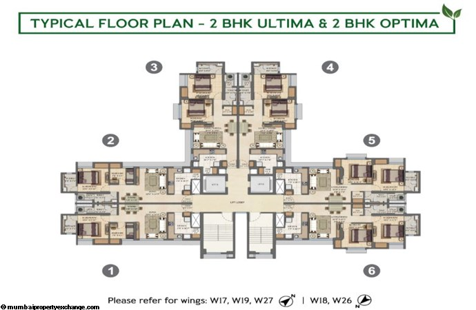 Lodha Amara Lodha Amara Typical Floor Plan 2BHK Optima-2BHK Ultima Type 1