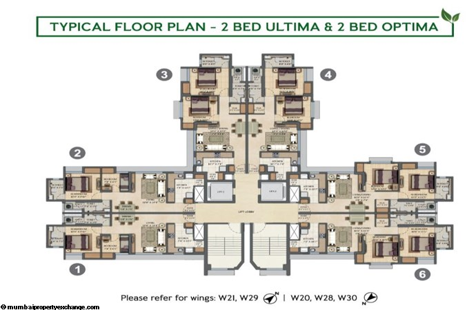 Lodha Amara Lodha Amara Typical Floor Plan 2BHK Optima-2BHK Ultima Type 2