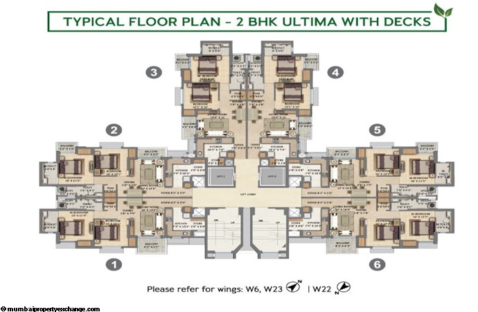 Lodha Amara Lodha Amara Typical Floor Plan 2BHK Ultima with deck