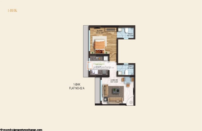 Crystal Armus 1BHK Plan