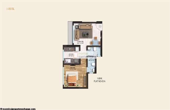 Crystal Armus 1BHK Plan L