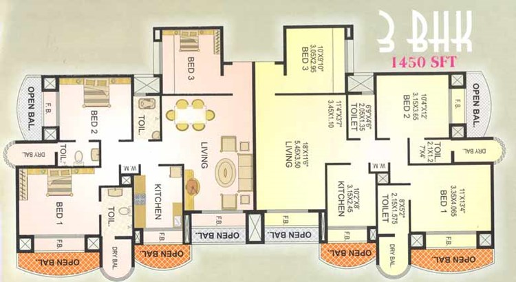 Twins 3BHK Floor Plan
