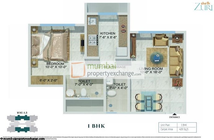 Sheth Zuri 1BHK Plan