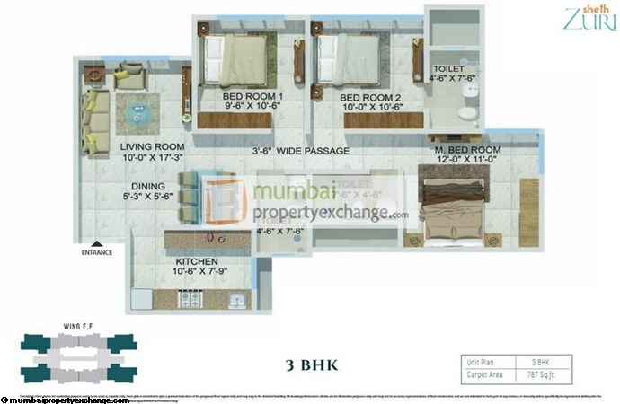 Sheth Zuri 3BHK Plan