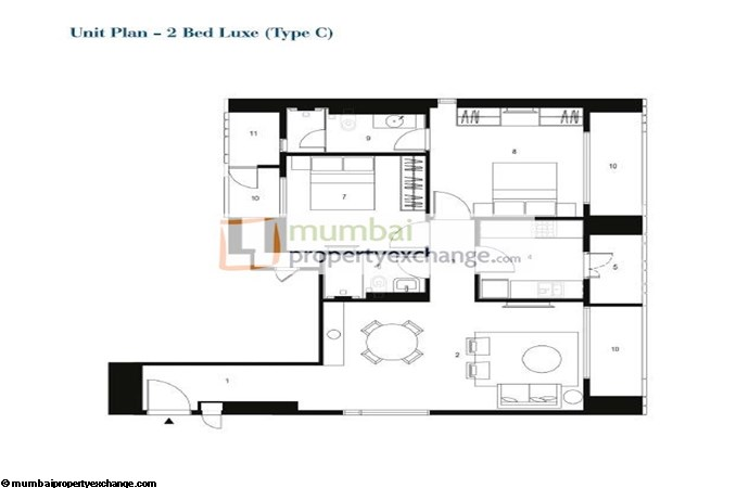 Lodha Codename 2 BHK Floor plan