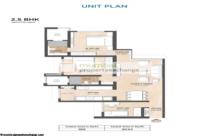 Tata Arrosa 2.5 BHK Floor Plan