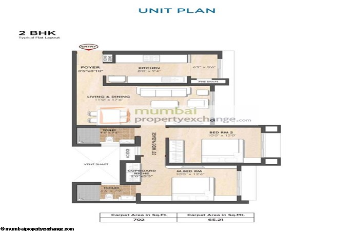 Tata Arrosa 2 BHK Floor plan