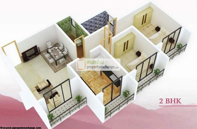 Kanti Regency 2 BHK Floor Plan