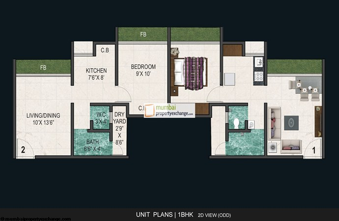 And Agasan 1BHK Floor Plan