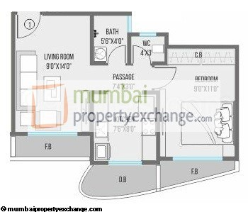 NG Canary 1 BHK Floor Plan