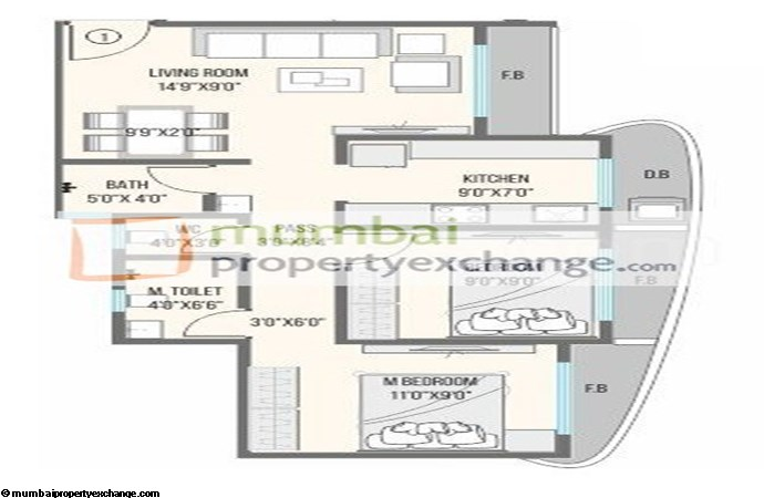 NG Canary 2 BHK Floor Plan