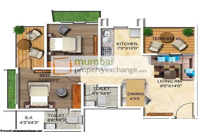 Thanekar Paradise 2 BHK Floor plan