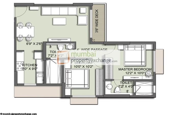 Primo 2 BHK Floor Plan