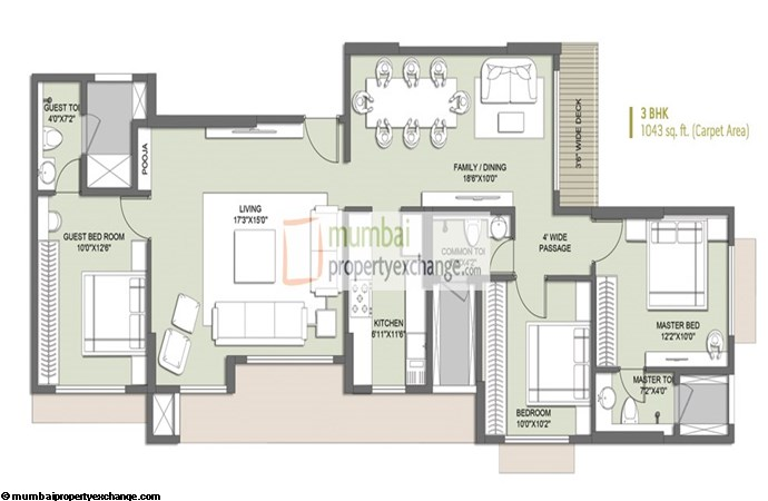 Primo 3 BHK Floor Plan