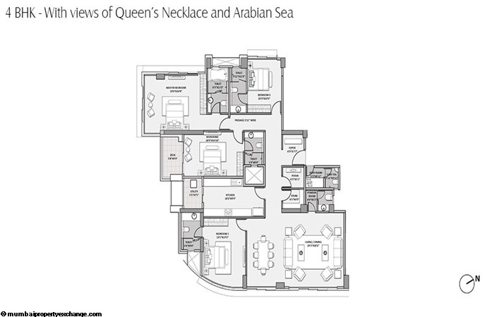 Lodha Seamont Lodha Seamont 4BHK with Queens Necklance -Arabian Sea View