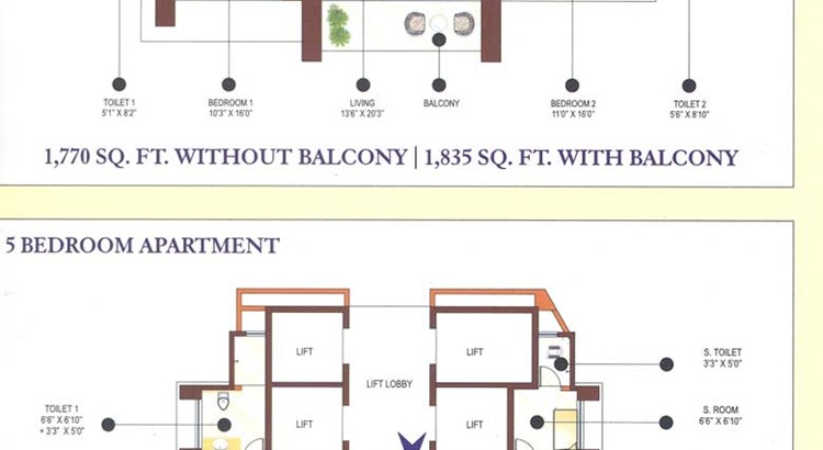 Ashok Gardens 3bhk and 5bhk floor plan