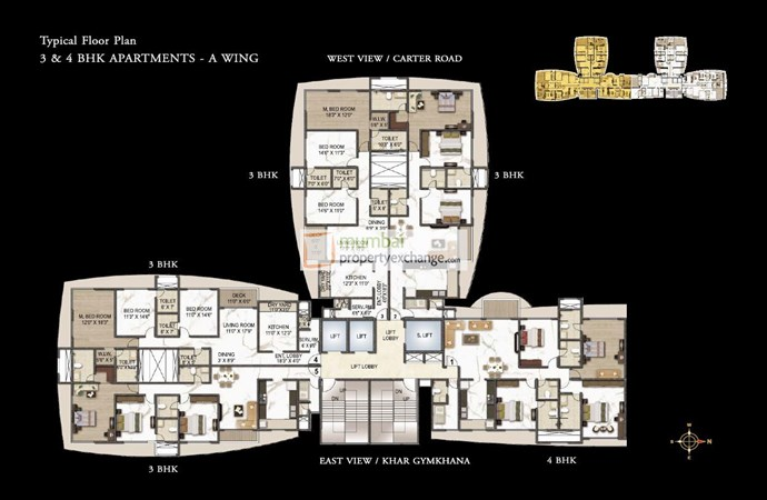 Joy Legend 3 & 4 BHK Floor plan