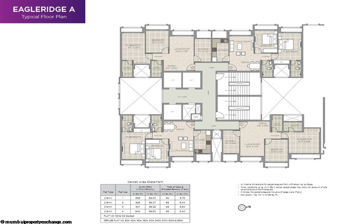 Hiranandani Eagleridge Hiranandani Eagleridge  A Typical Floor Plan