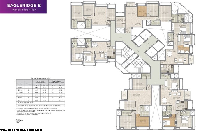 Hiranandani Eagleridge Hiranandani Eagleridge  B Typical Floor Plan