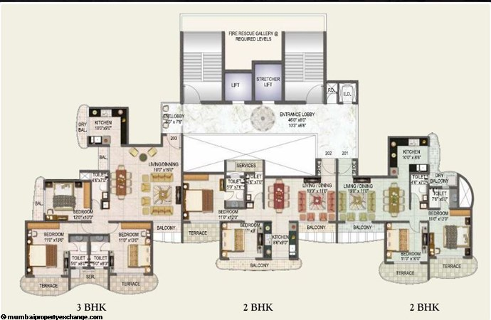 L and T Seawoods Seawoods Residences Typical Floor Plan