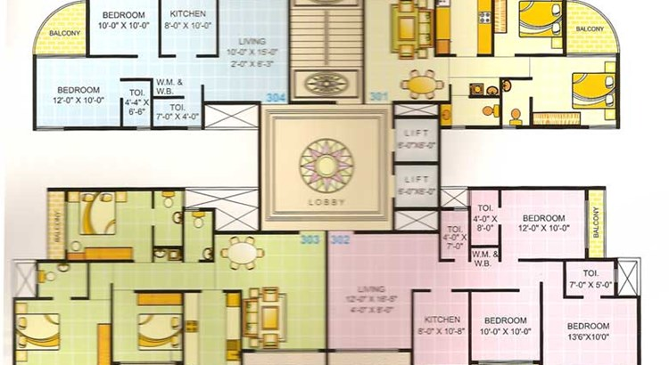 Riddhi Siddhi Heights 3rd, 5th, 9th and 11th Floor Plan