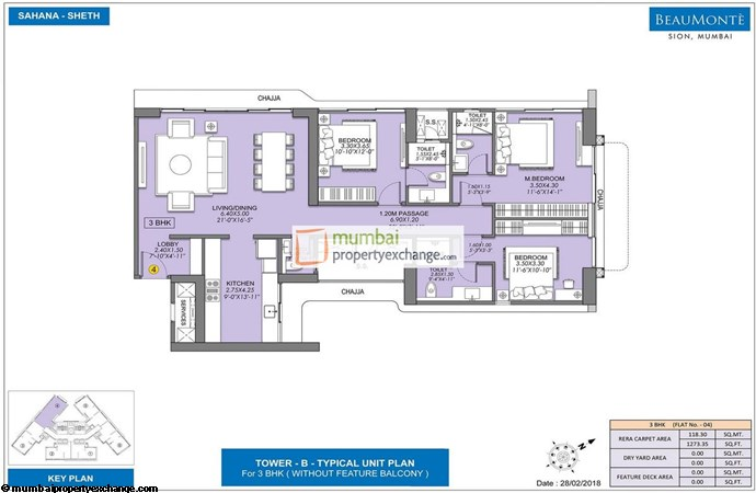 Sheth Beaumonte Tower B Sheth Beaumonte 3BHK Plan without balcony Type-2
