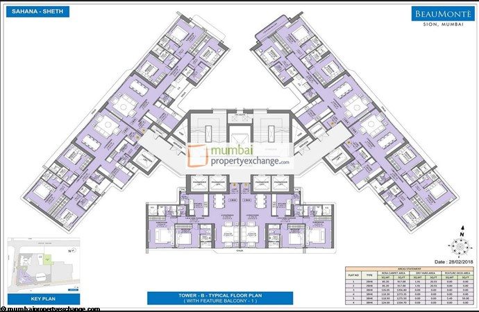 Sheth Beaumonte Tower B Sheth Beaumonte Typical Floor Plan with balcony Tower B