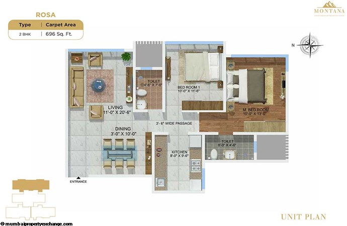 Sheth Montana Rosa  Sheth Montana 2bhk-unit-plan