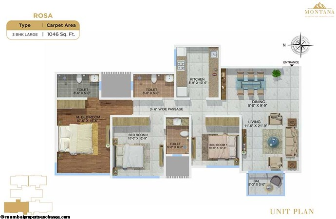 Sheth Montana Rosa  Sheth Montana Rosa 3-bhk-large-unit-plan